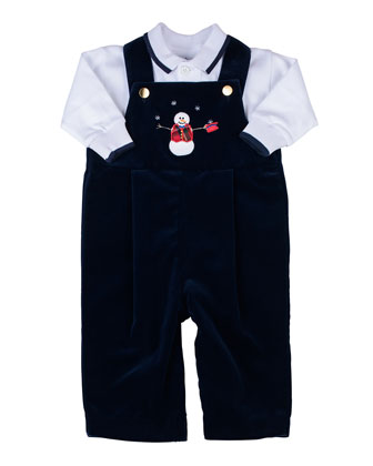 Snowman Velvet Overalls & Long-Sleeve Polo Set, 3-9 Months