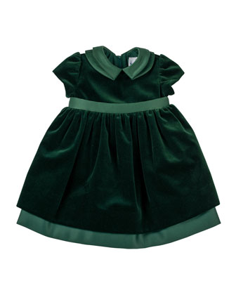 Velvet Dress with Satin Trim, 3-24 Months