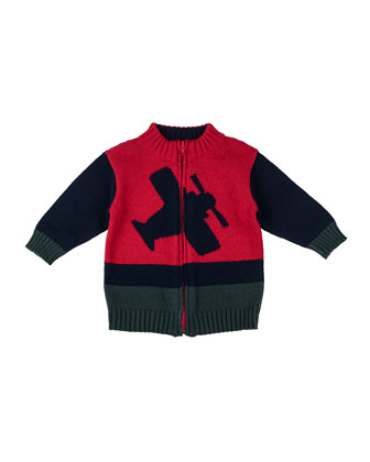 Airplane Intarsia-Knit Zip Sweater, 2T-4T