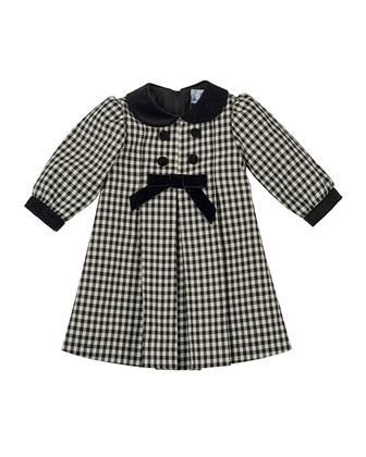 Pleated Check Dress with Velvet-Trim, 2T-4T