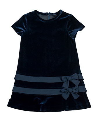 Velvet Dress with Chiffon-Trim, 2T-4T