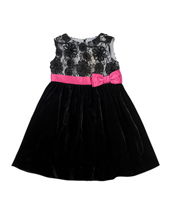 Lace & Velvet Dress, 2T-4T