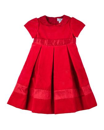 Short-Sleeve Velvet Dress, Sizes 4-6X