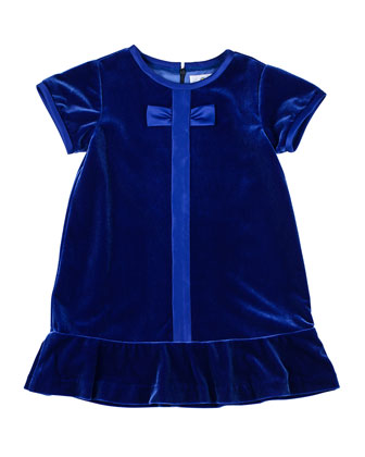 Flounce Velvet Dress with Satin Trim, Sizes 4-6X