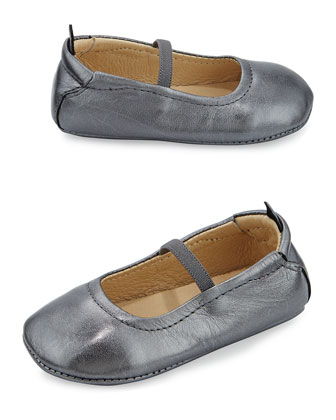 Soft Leather Ballet Flats, Rich Silver, Infant/Toddler