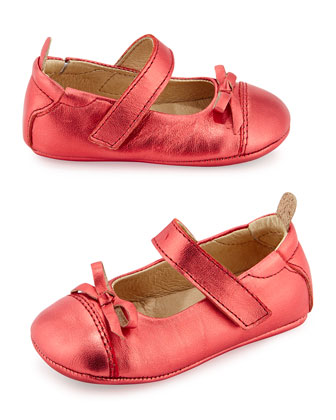 Metallic Ballet Flat with Bow, Infant/Toddler