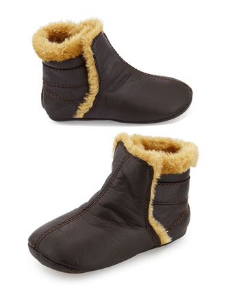Faux-Shearling Lined Leather Bootie, Infant/Toddler