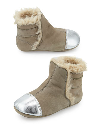 Cap-Toe Bootie with Faux-Shearling Lining, Infant/Toddler