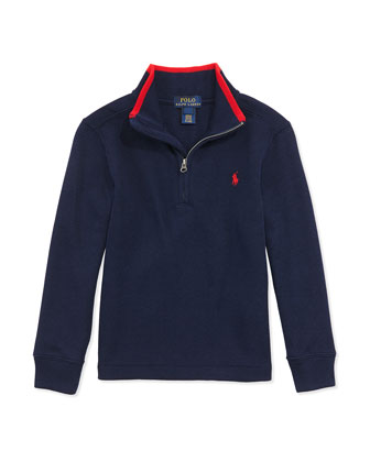 Rib-Knit Tipped Pullover, Cruise Navy, 2T-7