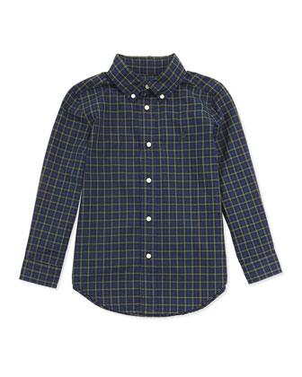 Plaid Poplin Woven Shirt, Blue Multi, 2T-7
