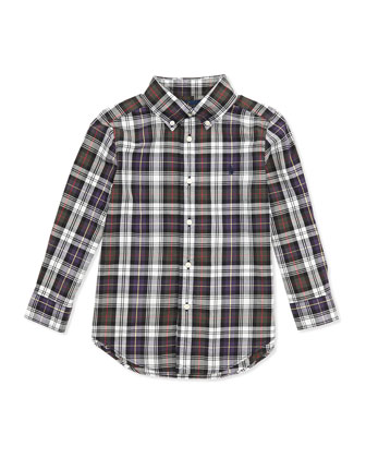Plaid Poplin Woven Shirt, Green Multi, 2T-7