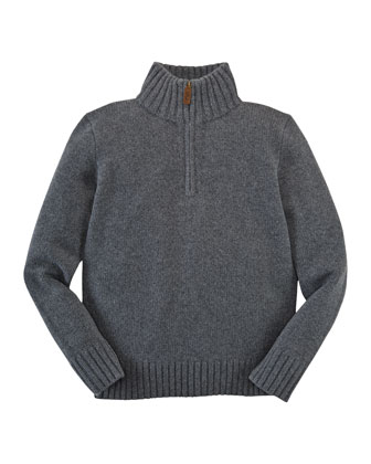 Cashmere Half-Zip Sweater, Holiday Gray Heather, Sizes 2-7
