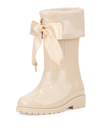 Rain Boots with Bow, Beige