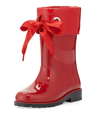 Rain Boots with Bow, Red