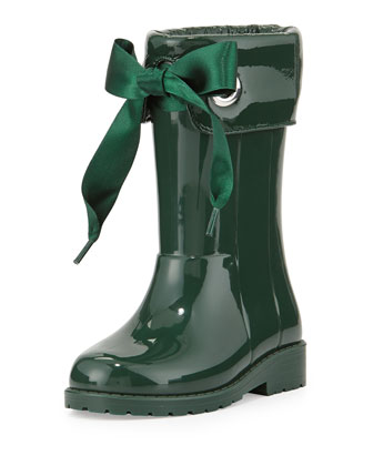 Rain Boots with Bow, Green