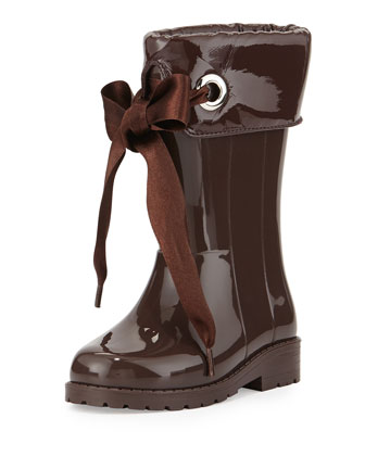 Rain Boots with Bow, Taupe