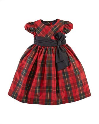 Taffeta Tartan Plaid Dress, Red, 2T-6X