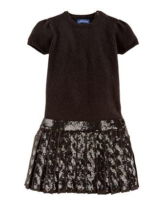 Sequined Drop-Waist Sweater Dress, Sizes 4-6X