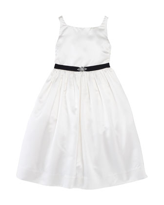 Satin Dress with Jeweled Belt, 2T-6X