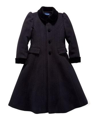 Wool/Cashmere Princess Coat, Black, Sizes 2-6X