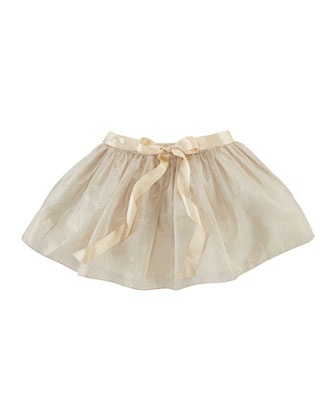 Ribbon-Waist Organza Skirt, Frosted Gold, Sizes 2-6X