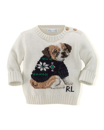 Boys' Intarsia-Knit Holiday-Dog Sweater, 3-24 Months