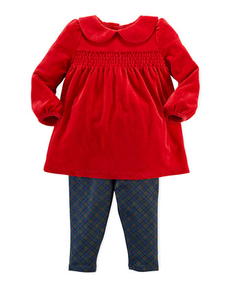 Velour Tunic & Plaid Legging Set, 9-24 Months