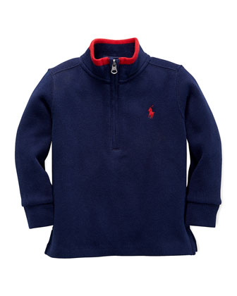 Rib-Knit Tipped Pullover, Cruise Navy, 9-24 Months