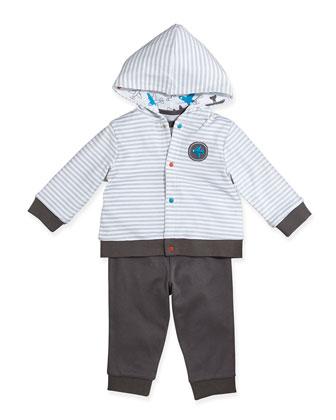 Airplane Reversible Jacket, Bodysuit, & Pants Set, 3-9 Months