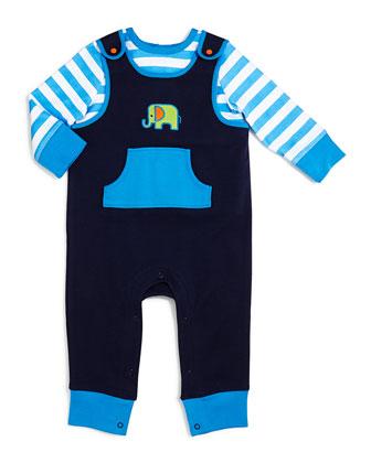 Elephant Overall & Long-Sleeve Shirt Set, 3-12 Months
