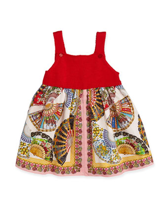 Fan-Print Dress with Solid Knit Bodice, 3-24 Months
