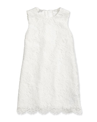 Cordonetto Sleeveless Lace Dress, White, Sizes 8-12