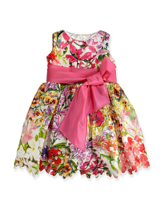 Garden Party Printed Guipure Lace Dress, Sizes 2-6X