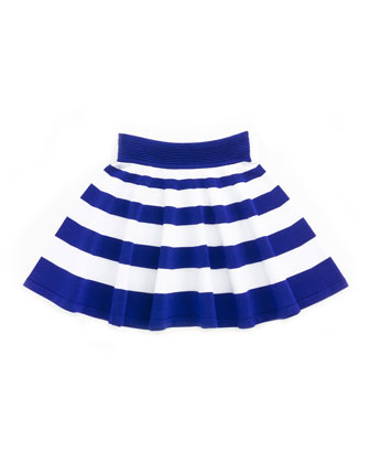 Striped Flare Skirt, Cobalt/White, Sizes 8-14