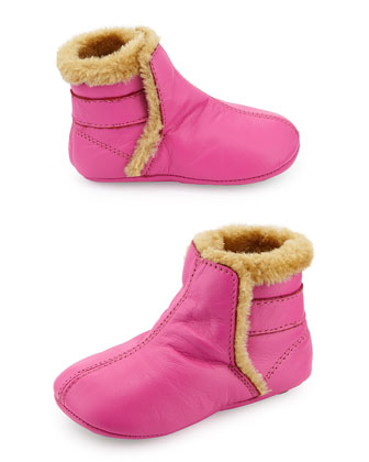 Faux-Shearling Lined Leather Bootie, Fuchsia, Infant/Toddler