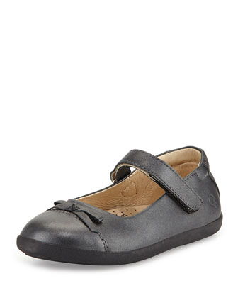 Leather Cap-Toe Ballet Flat, Metallic Black, Youth