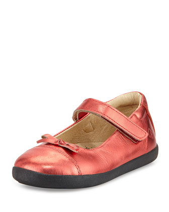 Leather Cap-Toe Ballet Flat, Metallic Red, Youth