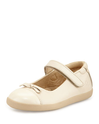 Leather Cap-Toe Ballet Flat, Metallic Pearl, Youth