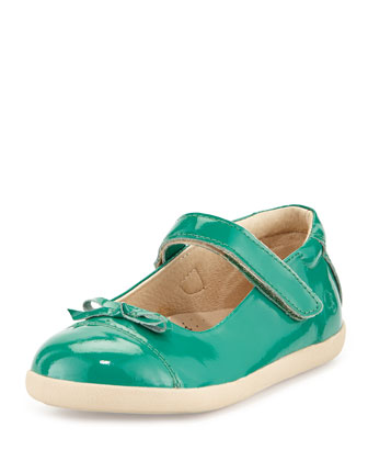 Patent Cap-Toe Ballet Flat, Teal, Youth