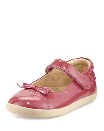 Patent Cap-Toe Ballet Flat, Fuchsia, Youth