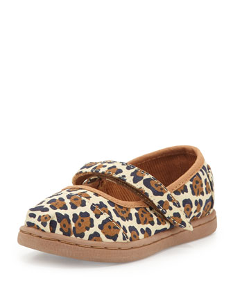 Jaguar-Print Mary Janes, Natural, Tiny