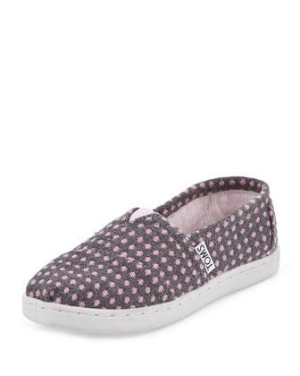 Polka-Dot Fabric Slip-On, Gray/Pink Dot, Youth