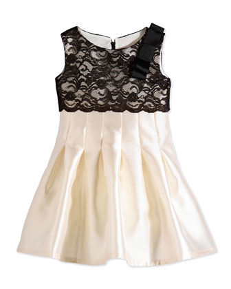 Cropped Lace & Satin Party Dress, Ivory/Black, Size 7-14