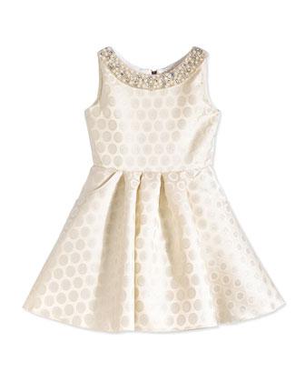 Polka Dot-Jacquard Swing Dress, Ivory/Silver, Size 7-14