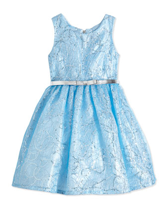 Sequin Lace Party Dress, Blue, Size 4-6X