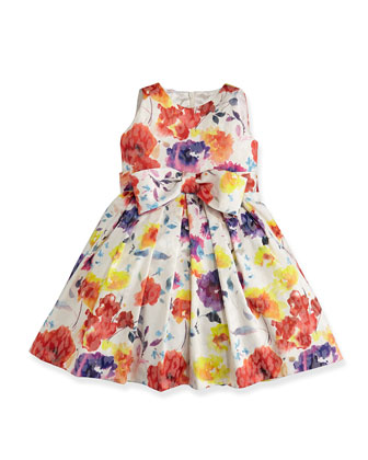 Floral-Print Jacquard Dress, Sizes 7-14