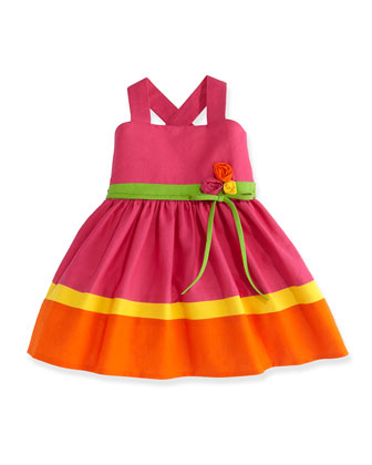 Bright Bouquet Colorblock Dress, Sizes 7-14