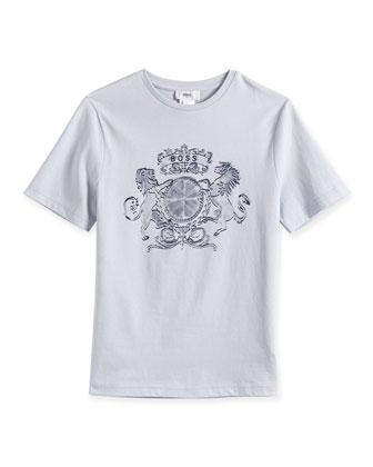 Crest-Print Short-Sleeve Jersey Tee, Ciel Blue, Size 4-12