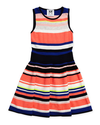 Striped Knit Flare Dress, Sizes 2-7