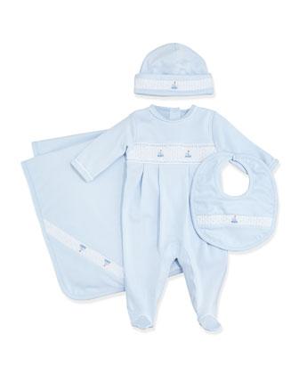 Summer Bishop Footie Pajamas, Light Blue, Size NB-9 Months